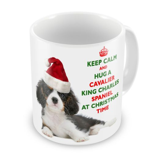Christmas Keep Calm And Hug A Cavalier King Charles Spaniel (Tricolour) Novelty Gift Mug
